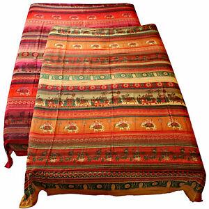 Tagesdecke Baumwolle Bettüberwurf Wandbehang 240x210cm Rot Orange Indien Sultan