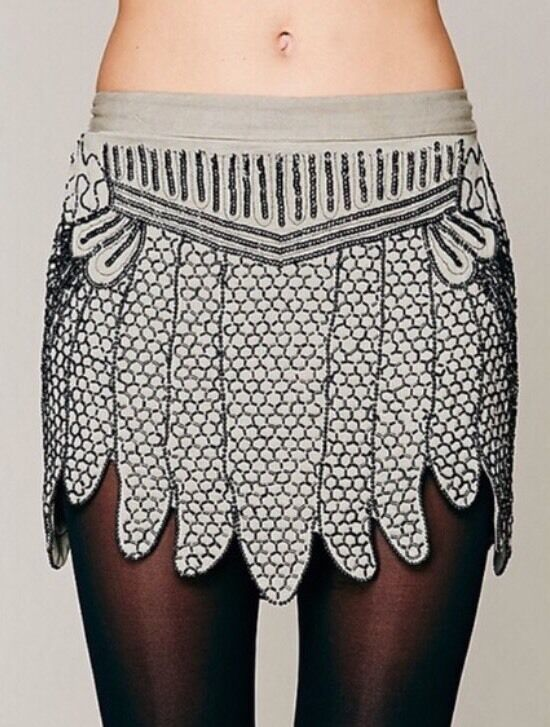 Free People X Show Girls Mini Skirt Beaded Embellished Sequin Flapper Xs