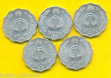 INDIA COMMEMORATIVE 1982 ASIAN GAMES 5 COIN LOT, 10 PAISE GOOD CONDITION