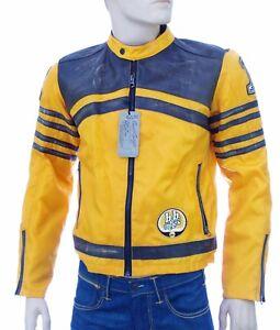 Détails sur Blouson moto racing nylon et cuir homme jaune orange BOMB BOOGIE taille M GIALLO