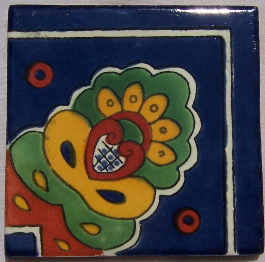 C223- Mexican Handmade Talavera Clay Tile Folk Art 4x4