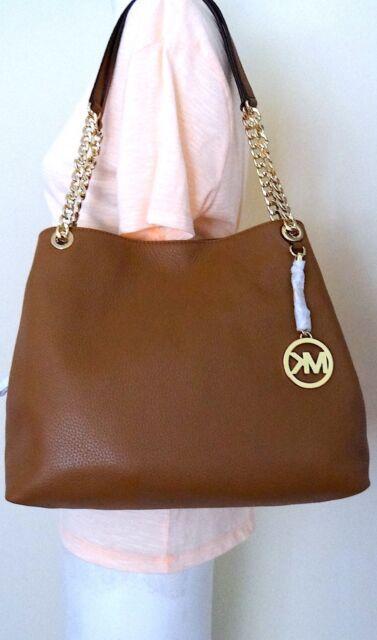 a32bdeaf5299 Michael Kors Jet Set Brown Leather Shoulder Bag Hobo Satchel Handbag Purse