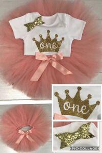 Girls 1st First Birthday Outfit Tutu Skirt Cake Smash Outfit  Set Blush Tiara