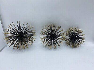 Metal Starburst/ Sea Urchin Atomic Era Wall Decor Set Of 3 Gold-Black And Gold. | eBay