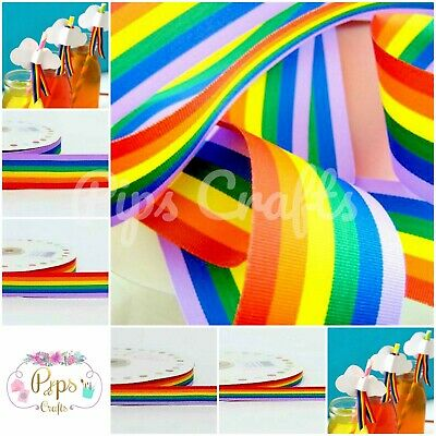 50 METRE ROLLS Gay Pride Rainbow Ribbon 10mm 25mm 35mm 3 widths available