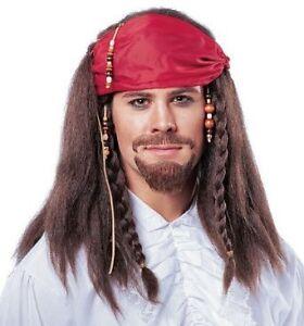 Pirate Jack Sparrow Captain Cutthroat Men Costume Hat Dreadlocks Wigs