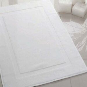 Image Is Loading 6 White Cotton Hotel Bath Mats Large 22x34