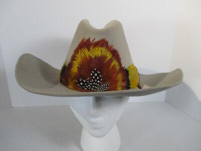 Cowboy Hat Trail Boss Tan Perma Felt Fur Blend Yellow Orange Feather Band 7 1/8