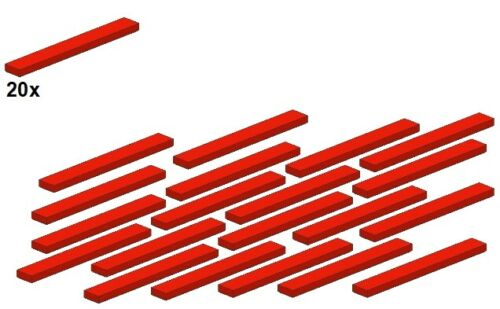 - Fliese Smooth Parts 1x8 Rot LEGO® Red 4162-01 20Stk