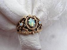 VINTAGE 10k GOLD FILIGREE ETRUSCAN FIRE OPAL CABOCHON LADIES RING sz 7.25  4.4g