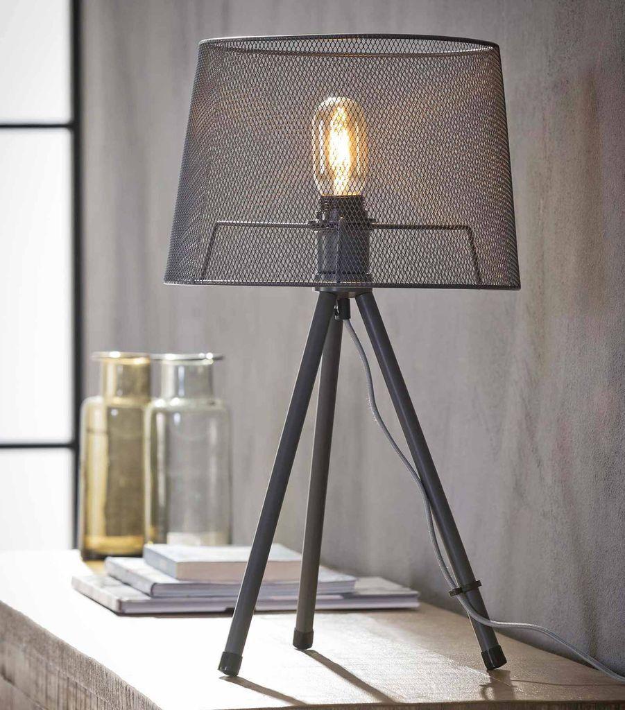 Tischleuchte FEBE Tripod Tischlampe mit Drahtgeflecht Grau lackiert