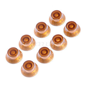 8 pcs knob guitar speed knobs top hat for guitar parts replacement amber 634458553674 ebay. Black Bedroom Furniture Sets. Home Design Ideas