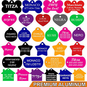 Pet-ID-Tags-Pet-Tags-Many-Shapes-8-Colors-Personalized-Premium-Aluminum