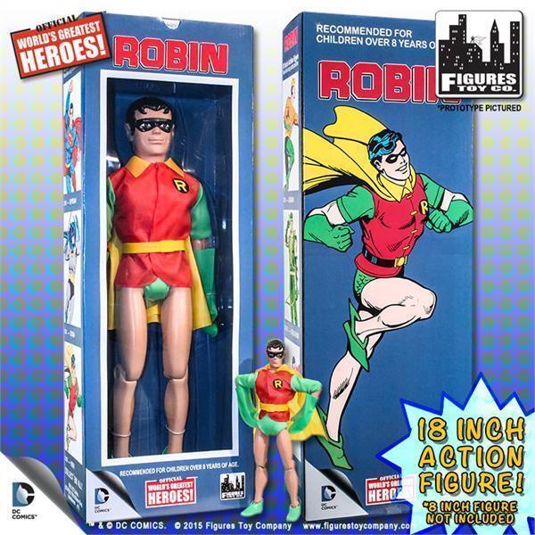 D. c comics robin, retro - mego 18 - zoll - action - figur, misb neue zahlen.