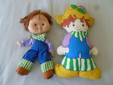 VINTAGE STRAWBERRY SHORTCAKE SOFT DOLL & PLUSH PILLOW LOT HUCKLEBERRY PIE 1980S