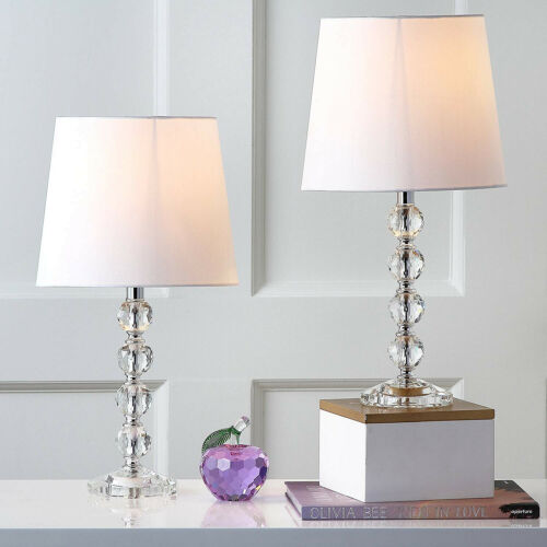 Table Lamp Set  Clear Stacked Crystal Ball Lamp Shade Bedroom Decor Set of 2