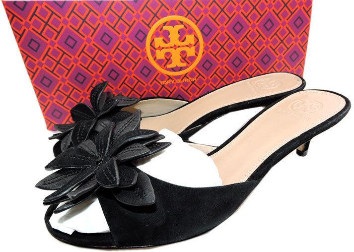 295 Tory Burch Burch Burch JULES Sandals nero Flower scarpe Slides Mules Flip Flop  8 758e52