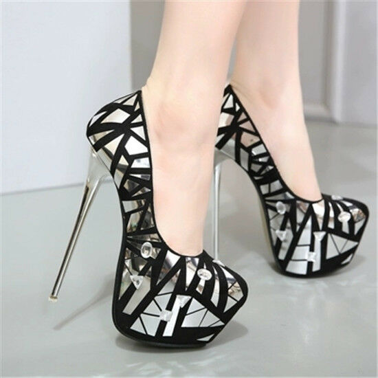 Womens Round Toe Rhinestones Pumps Stilettos High Heels Platform Shoes Nightclub