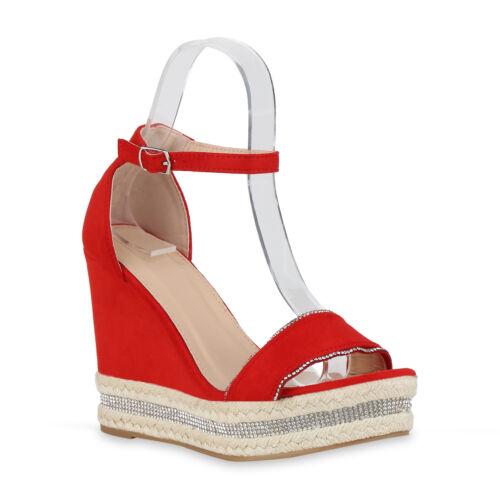 Damen Plateau Sandaletten Strass High Heels Keilabsatz Bast 826395 Schuhe