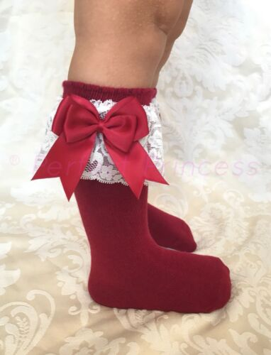 Flower Girl summer Lacey Spanish Baby Girls Socks Double Bow Knee High lace