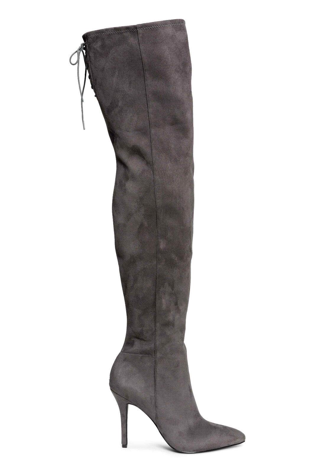 Z H&M GRIGIO GRIGIO ECOPELLE tacco SCAMOSCIATA coscia al ginocchio tacco ECOPELLE a spillo Pull On Stivali 8 41 10 5a92d6