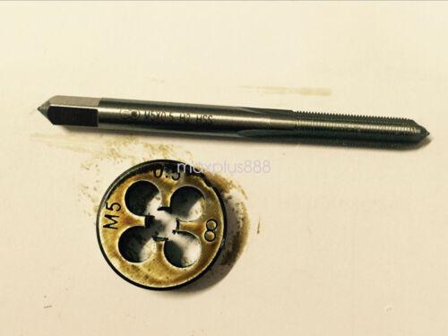 1pc HSS Machine M5 X 0.5mm Plug Tap and 1pc M5 X 0.5mm Die Threading Tool