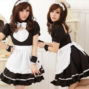 Tame Shy Japanese Maid Costume French Waitress Outfit
