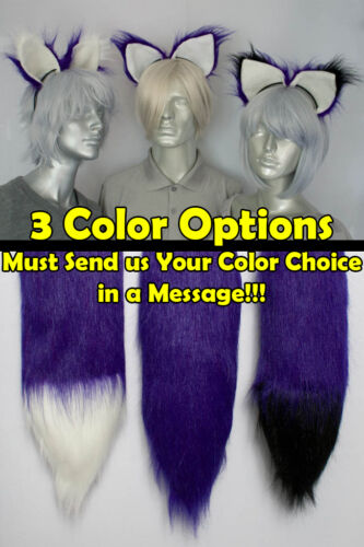 Purple Furry Fox Tail and//or Ears Cosplay Accessories