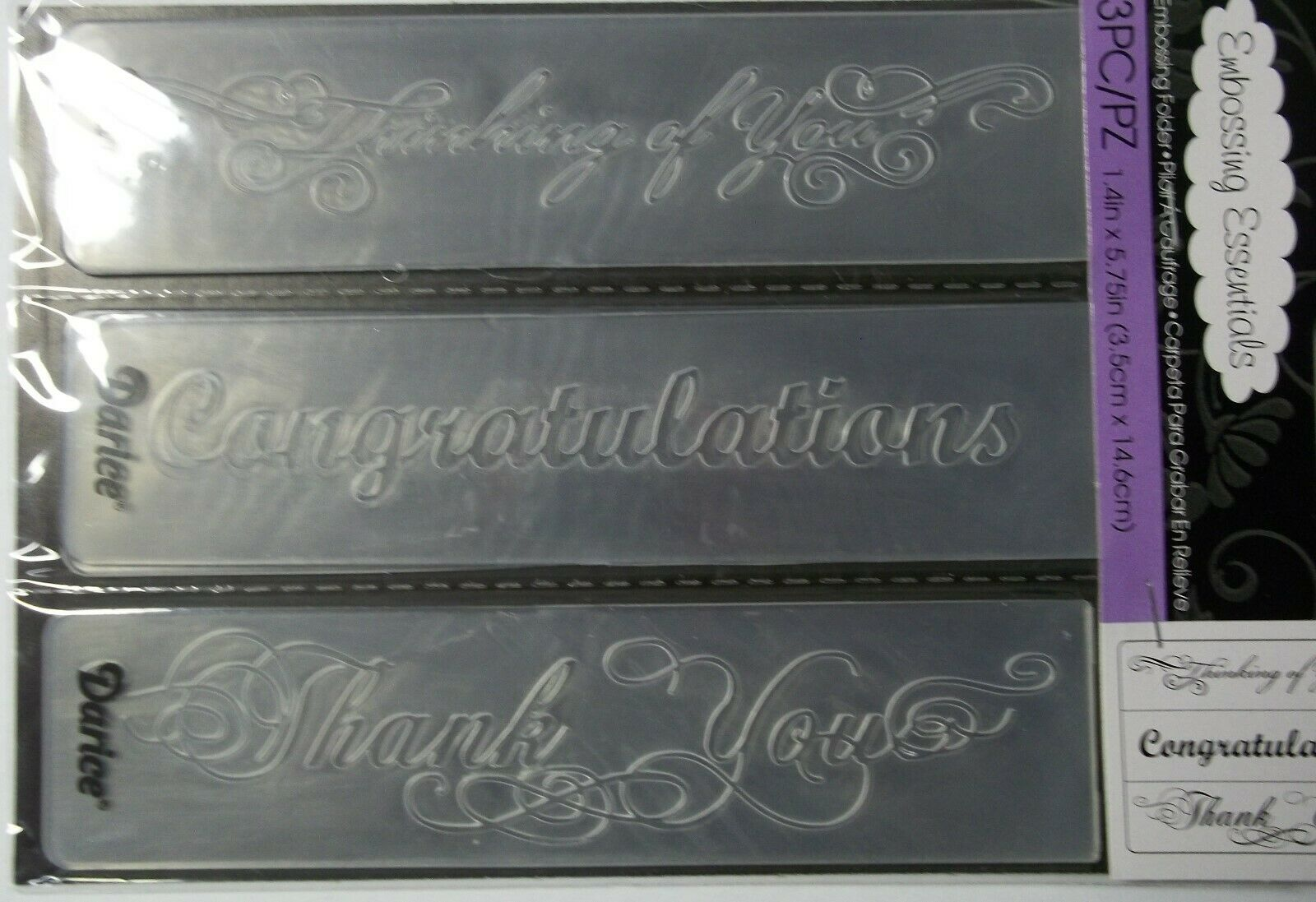 Phrases  3 Pieces   Embossing Folder  4  x  5-1//2  Inches Darice  NIP