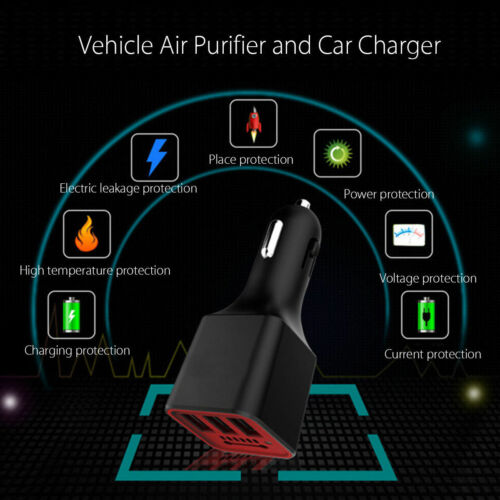 3 USB 3.1A Car Charger Negative Ion Ionizer Oxygen Generator CleanerAirPurifier