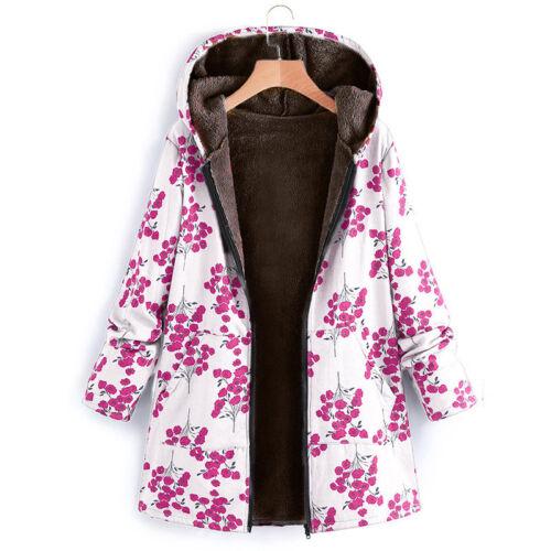 Plus Size Womens Winter Warm Floral Fleece Hooded Parka Coat Jacket Zip Outwear