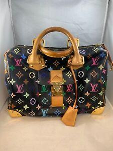 LOUIS-VUITTON-Monogram-Multicolor-Speedy-30-Hand-Bag-M92643-LV-Auth-CEO153