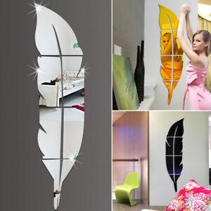 Moderne-Plume-Miroir-Amovible-Decal-Art-Mural-Autocollant-Mural-Maison-Chambre-A-faire-soi-meme