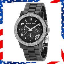New Authentic Michael Kors Lady Chronograph Black Ceramic Bracelet Watch MK5190