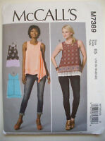 Summer Sleeveless Layered Top Pattern 7389 Unused Size 14 16 18 20 22