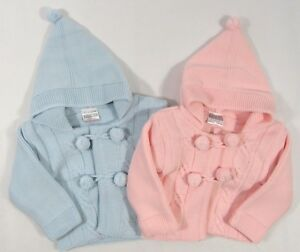 6dc2df682d92 Baby Girls Boys White Button Up Hoodie Cardigan Knitted Pram Coat ...