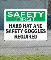Safety First Hard Hat And Safety Goggles Required - Osha Sign 10 X 14