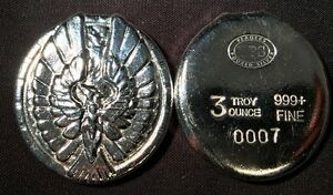 3oz-YPS-034-Phoenix-034-999-fine-silver-bullion-bar-034-Yeager-039-s-Poured-Silver-034