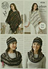 Tejer patrón señoras fácil Knit Poncho, sombrero y snood/cowl urbano Kc 4326
