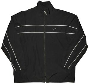 Nike-Men-039-s-Black-w-Gray-Piping-Rainproof-Workout-Gym-Running-Track-Jacket-XL