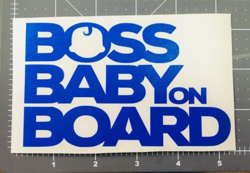 1 X Boss Baby on Board Car Sticker color blue