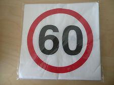 """12 Stk. Geburtstags-Servietten """"Verkehrszeichen"""" zum 60.Geburtstag, 33x33cm! NEU"""