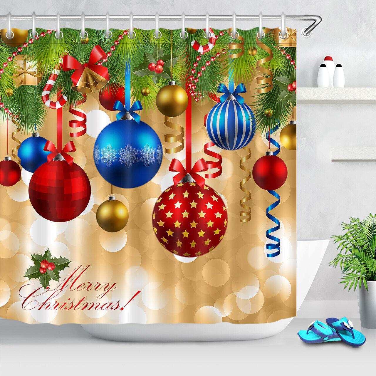 Us Xmas Tree Baubles Fireplace Socks Fabric Shower Curtain Set Bathroom Decor