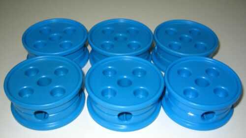 Plastic Tinker Toys Part Lot 6 SPINNING WHEELS Blue 5-Hole Spool Tinkertoy Piece