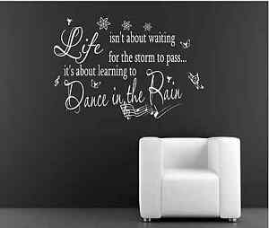 Dance In The Rain Music Wall Quote Decal Sticker Wall Decals