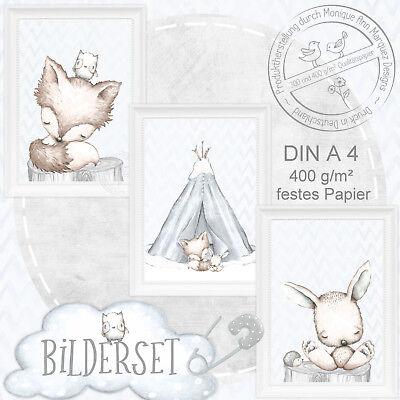 Kinder Baby Zimmer Bild Er Tiere Fuchs Poster Tierbild Bilder Set Din A4 |set21