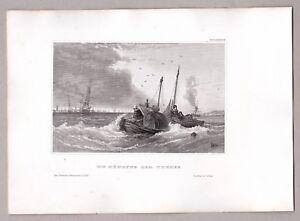 Grossbritannien-Die-Muendung-der-Themse-Maritimer-Stahlstich-um-1855