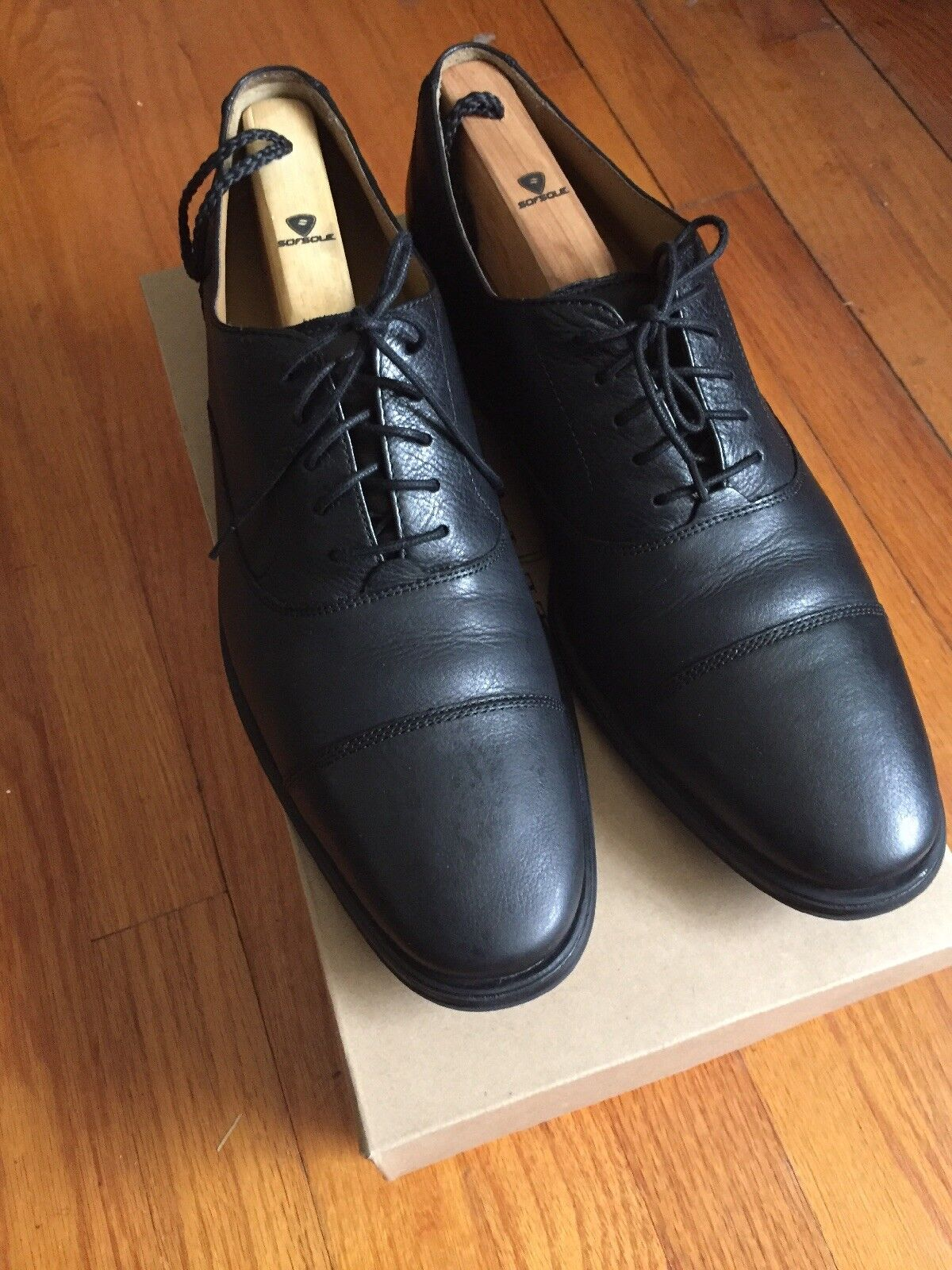 COLE TOE HAAN MEN'S ADAMS CAP TOE COLE II OXFORD (C12324) BLACK 10 MEDIUM $200 b75159