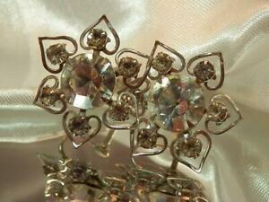 Beautiful-Deco-Vintage-1950-039-s-Large-Rhinestone-Flower-Screw-Back-Earrings-626JN9
