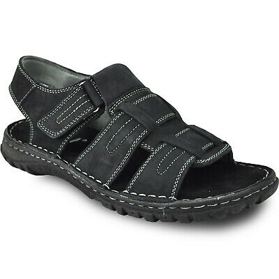 KOZI New Men Leather Sandal NEW DIEGO-06_BLACK With Adjustable Instep Strap